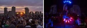 英国の古代遺跡「ストーンヘンジ」で行われた夏至の祭典で日の出を見る人々(2015年6月21日撮影) (c)AFP/NIKLAS HALLE'N